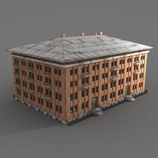 3d red brick building