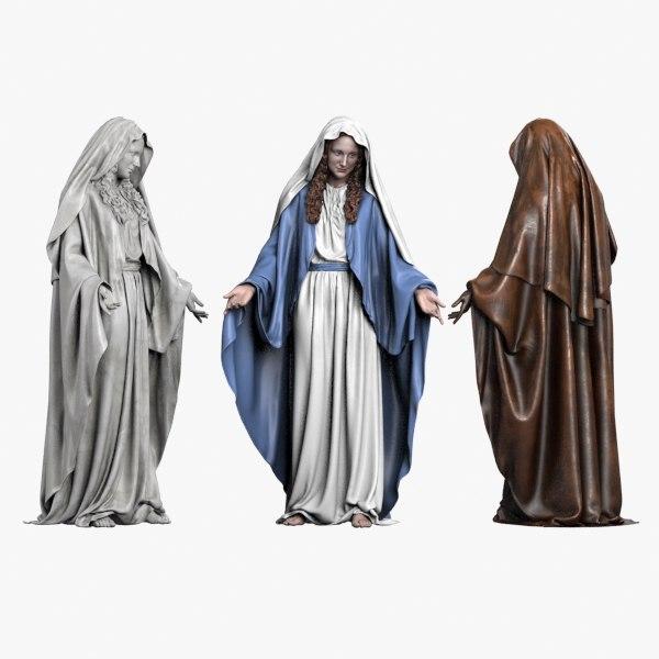 3d statue virgin mary model