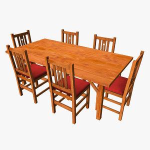 basic wooden dining set 3d model