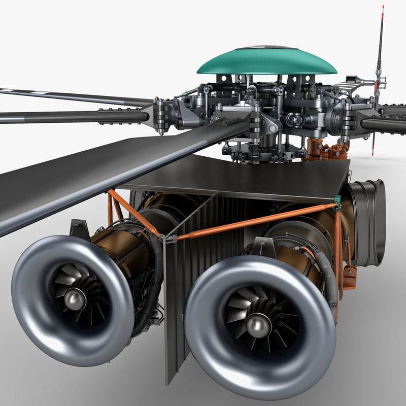 3d model helicopter engine