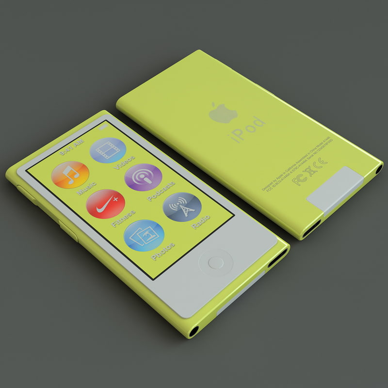 3d yellow ipod nano 7th model