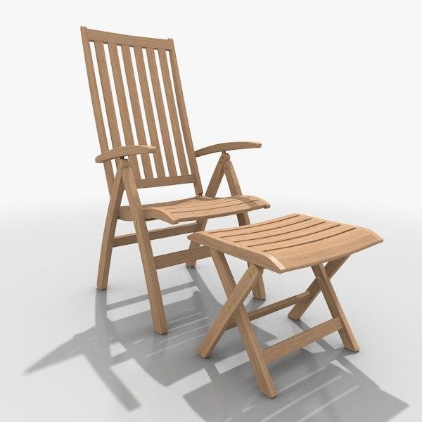 foldable lounger set c4d