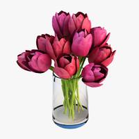 3d vase tulips