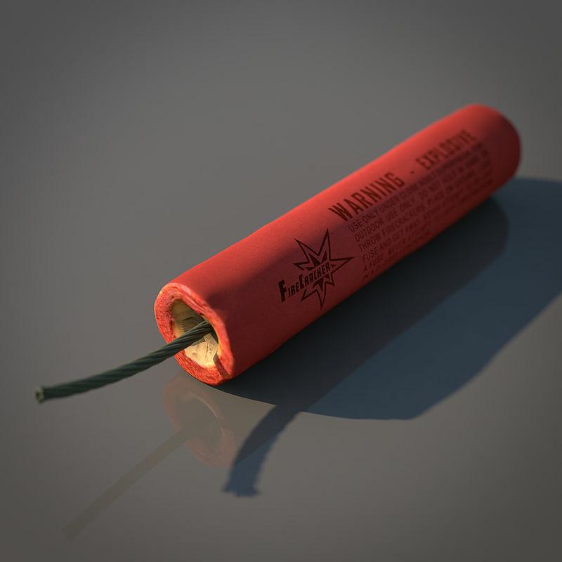 firecracker cracker 3d model