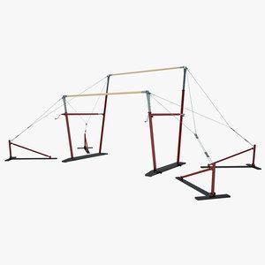 3d gymnastics uneven bars model