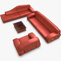 3d realistic red modern sofa