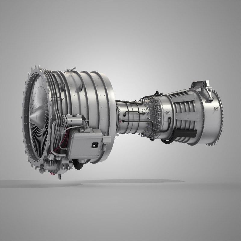 cfm56 turbofan aircraft engine 3d model