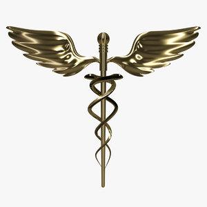 caduceus medical symbols 3d model