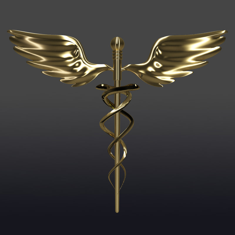 caduceus medical symbols 3d model