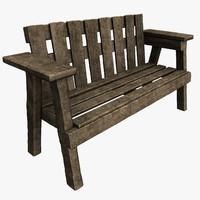 3d old park bench model