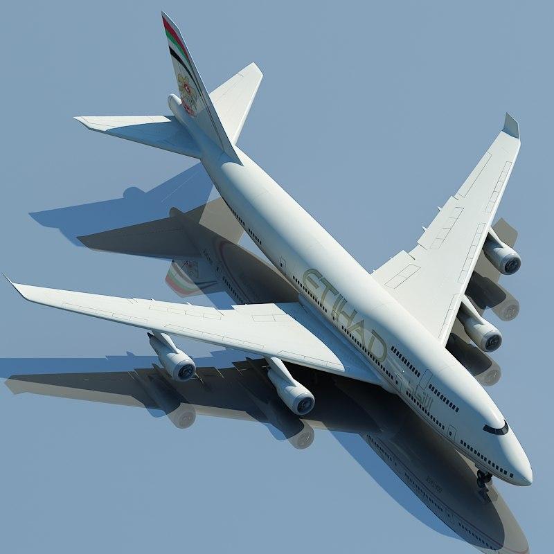 boeing 747 etihad 3d model