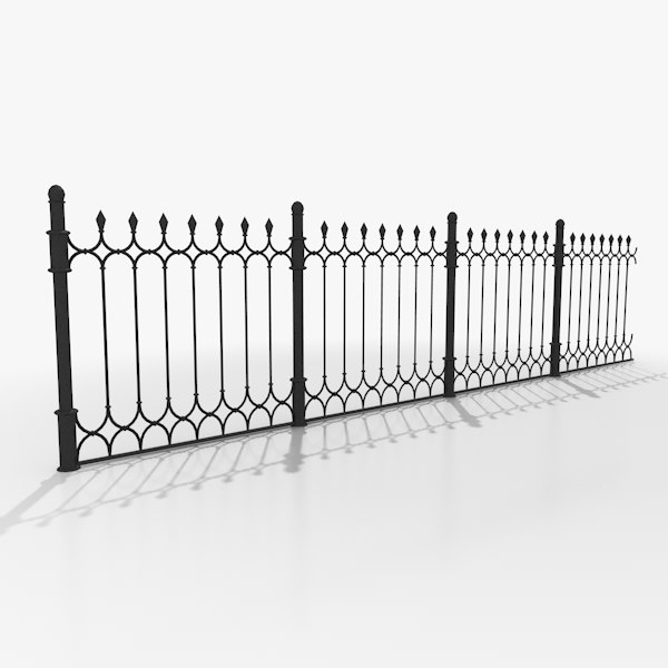 Wrought iron fence 3d model for 3d fence