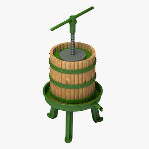old wine press 3d model