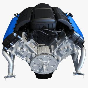 v8 engine 3d model