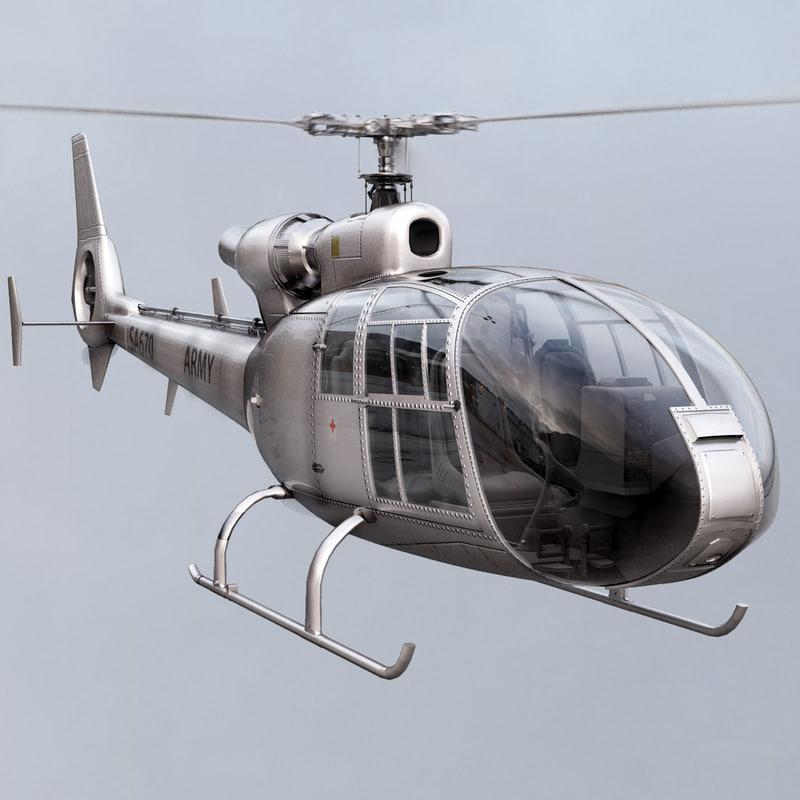 max aerospatiale sa gazelle helicopter