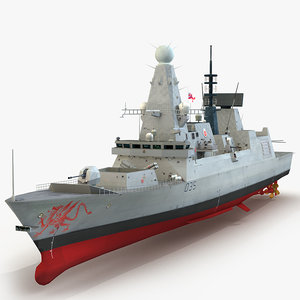 3d model hms dragon d35 type 45
