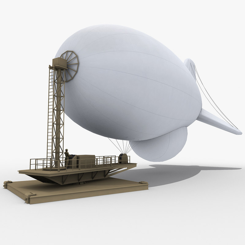 tethered aerostat mooring station 3d model