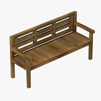 3d wooden bench wood model