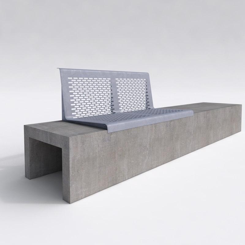 concrete park bench outdoor 3d model