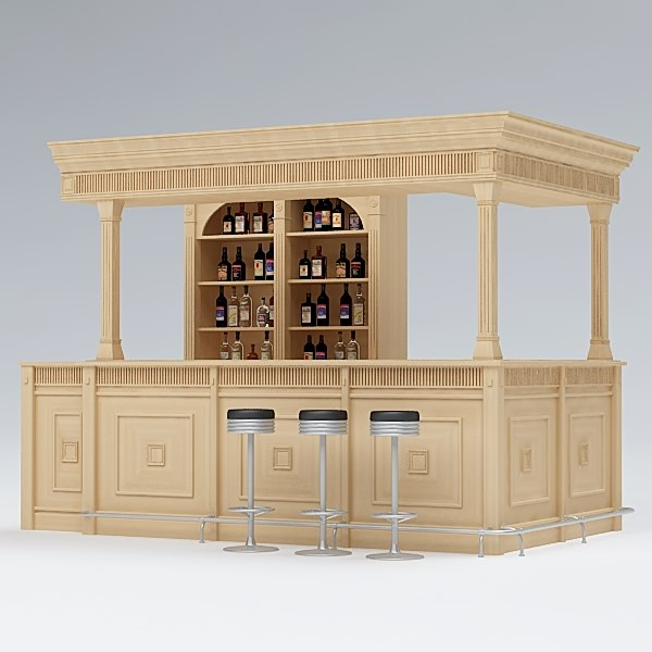 bar counter 3d obj