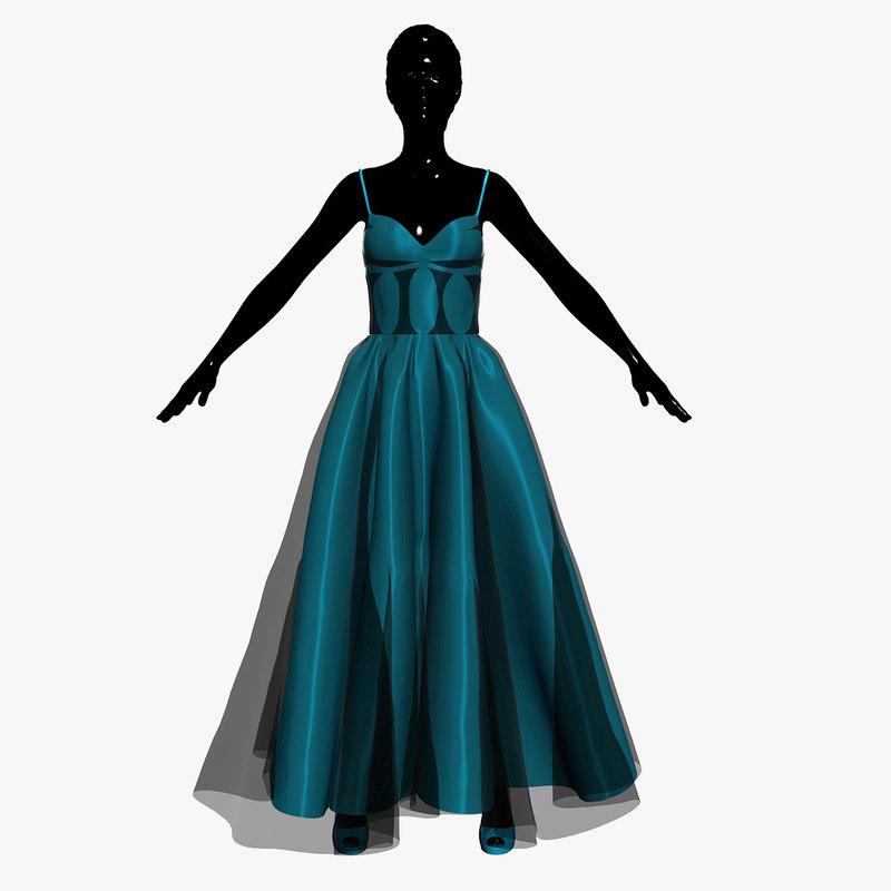 3d model dress turquoise
