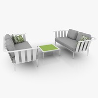 casual two-seater set lounge furniture 3d model
