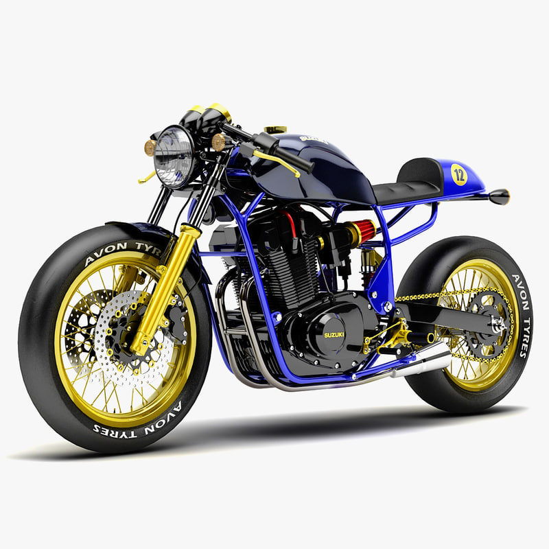 suzuki cafe racer 3d model