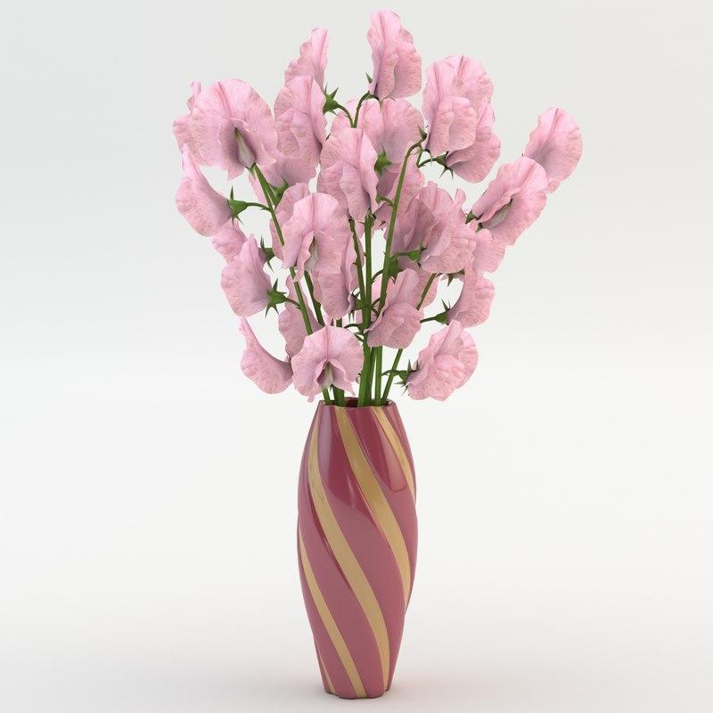 3dsmax sweet peas vase pink