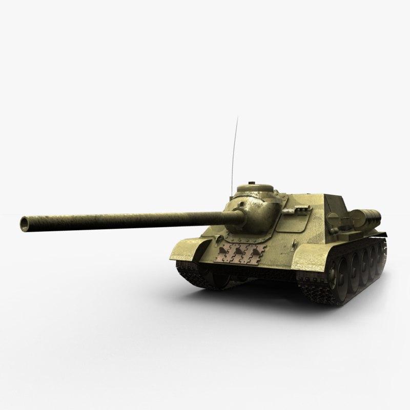 su-100 soviet tank destroyer 3d model