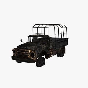 3d model truck burn burnt