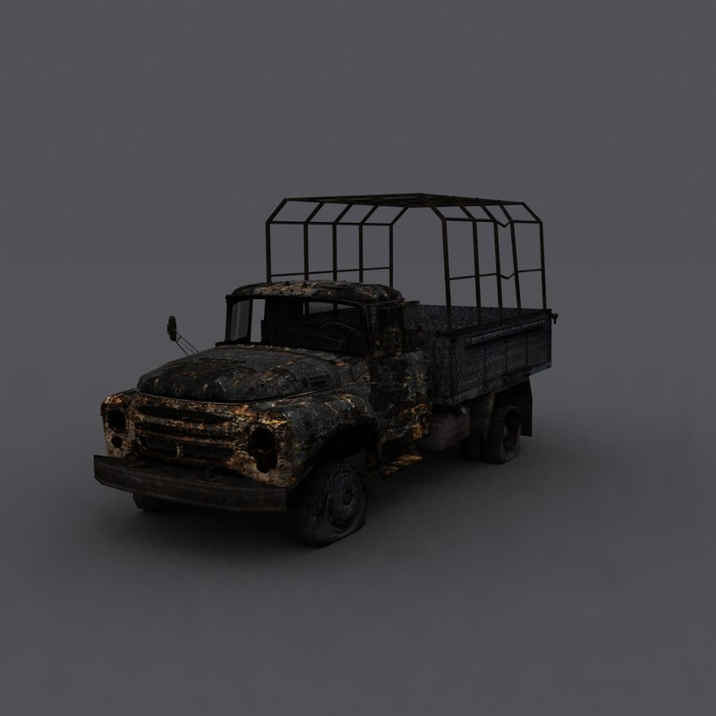 3d model truck burn burnt