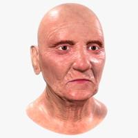 3d old woman head model
