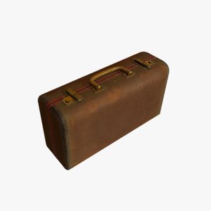 3ds max small old leather suitcase