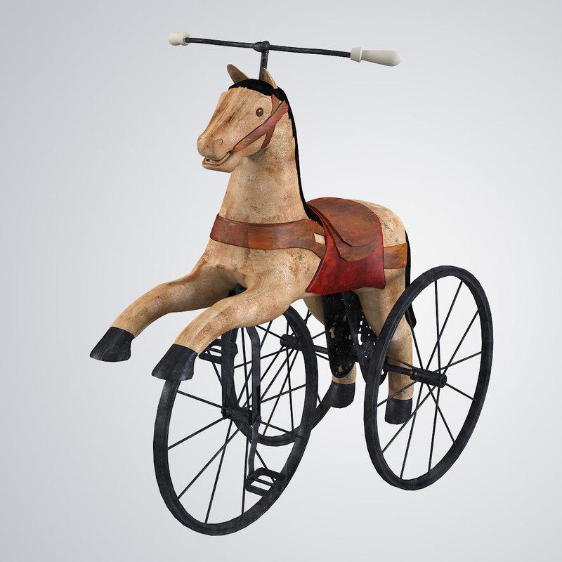 horse bike charler roi 3d obj