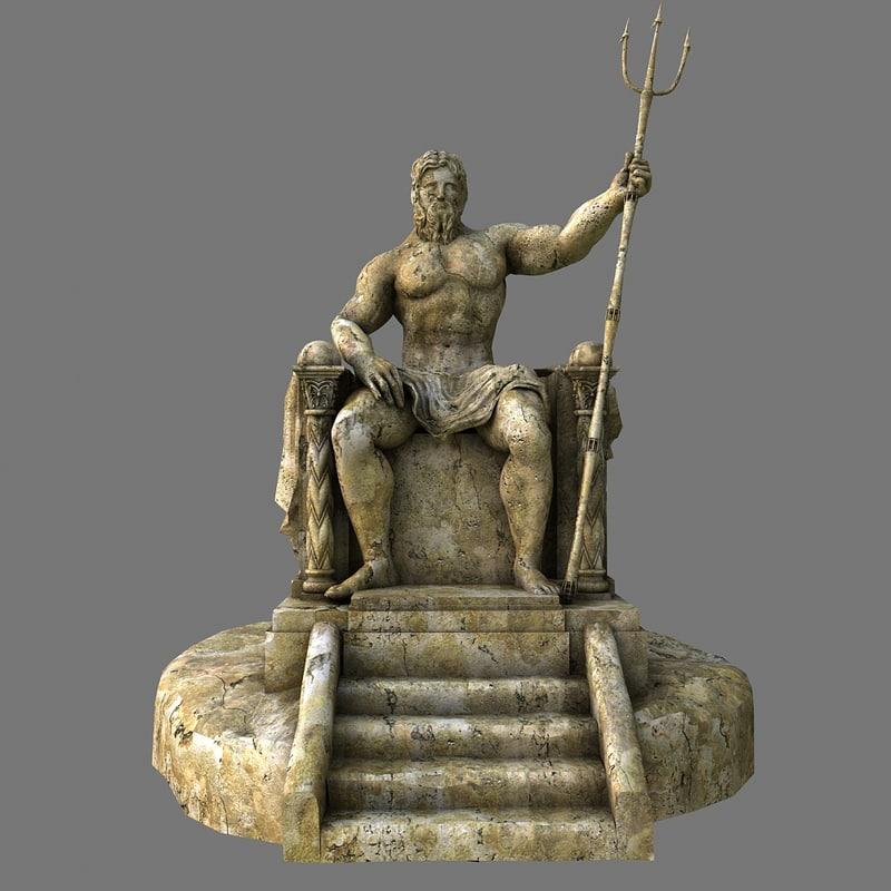 3d obj poseidon statue