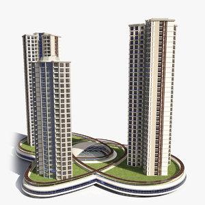 3d model of skyscraper building twin star