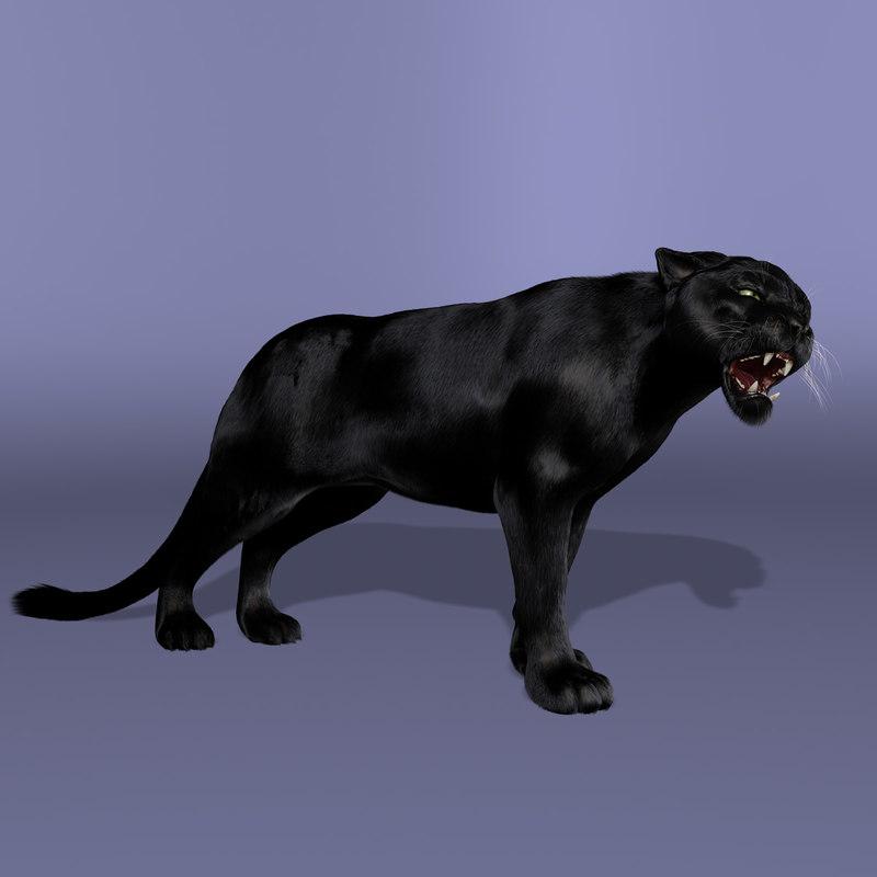 3d obj black panther fur