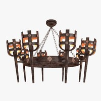 Classic Medieval Rustic Iron Chandelier