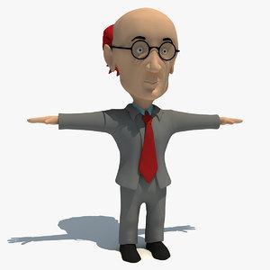 3d rigged cartoon teacher model