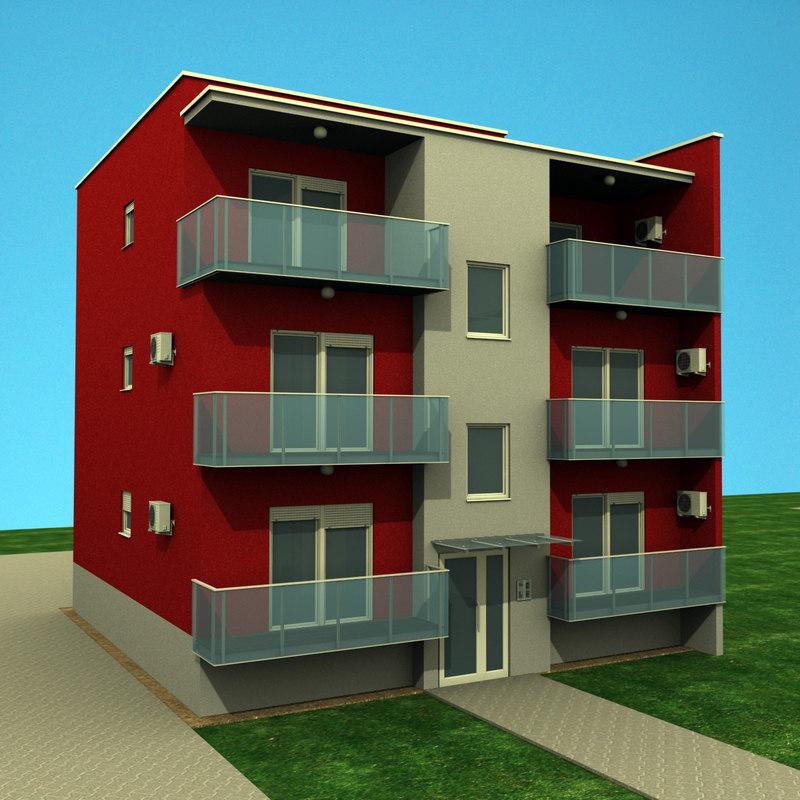apartments building 3d model