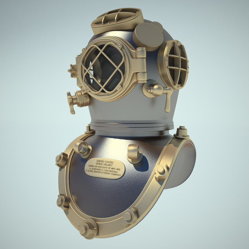 3d model diving helmet old