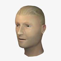 3ds white female head