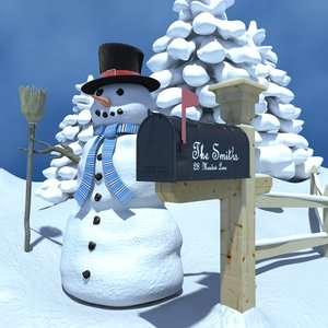 3ds scene winter snowman mailbox