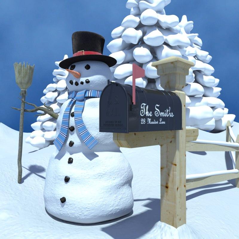 3ds scene winter snowman mailbox