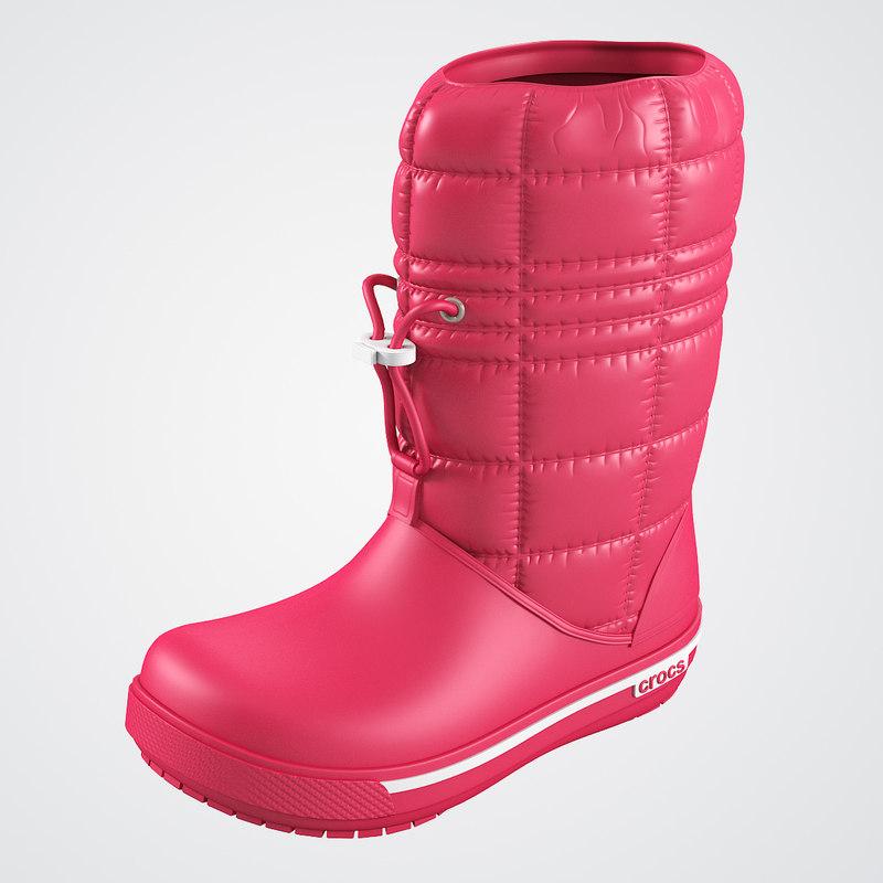 3d model crocs women win boot