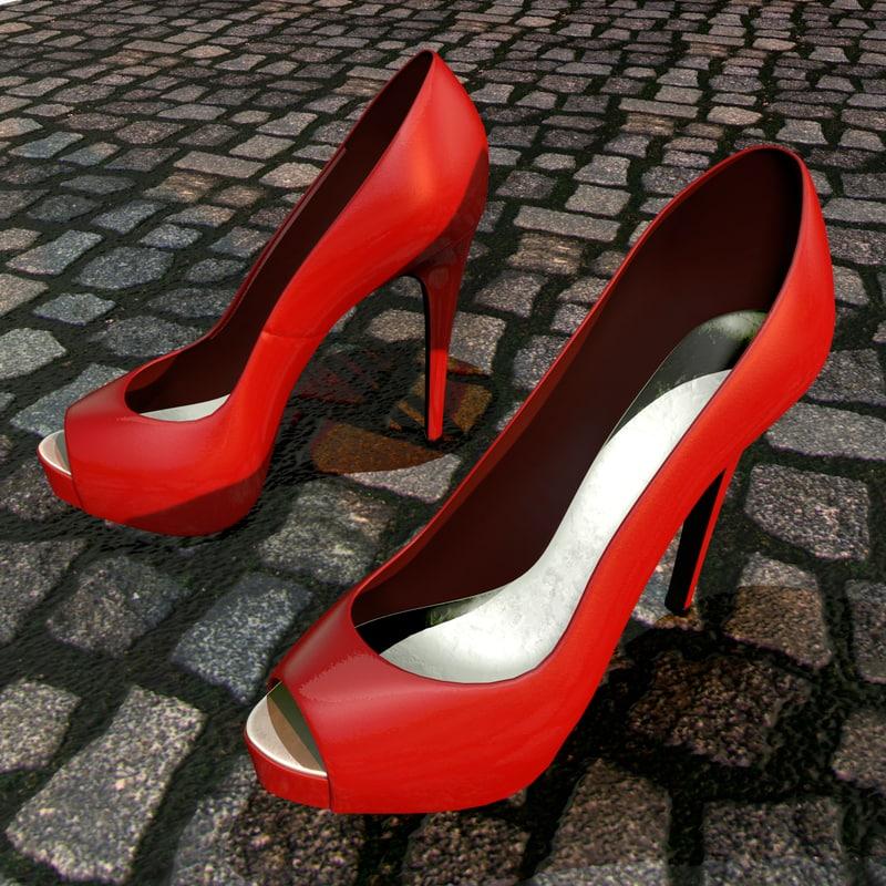 cinema4d red heel peep-toe shoes