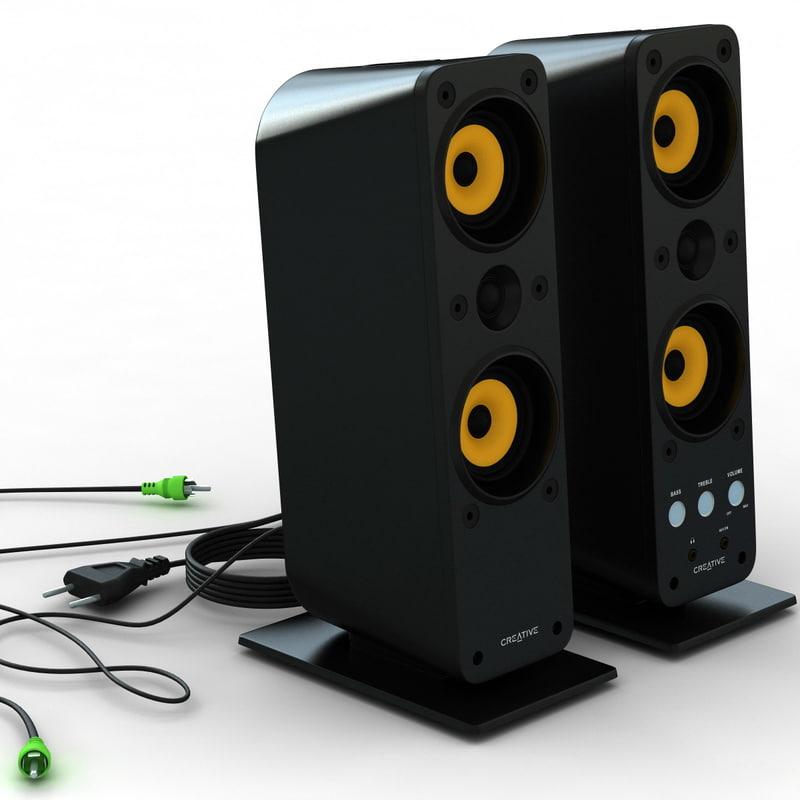 3d model of creative gigaworks t40 speakers amplifier