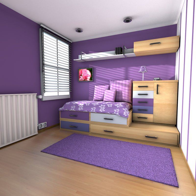 teen room teenage 3d model