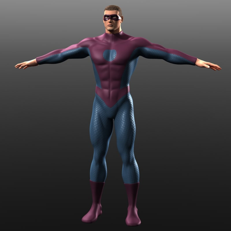 3d model of man superhero costume