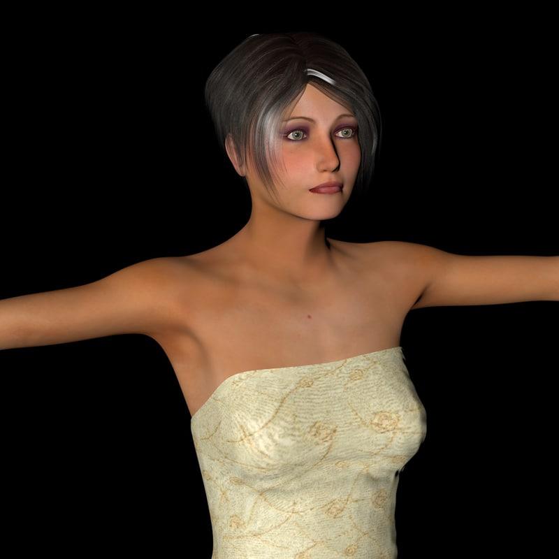 carol female rigging character 3d model